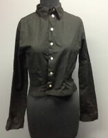 ANNE FONTAINE Black Cotton Long Sleeve Collared Button Front Cropped Shirt Sz 2