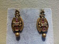 Antique Victorian Etruscan 14k gold enamel ruby diamond dangle earrings ball