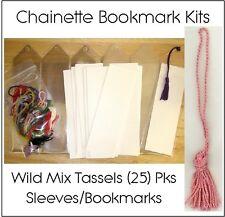 Bookmark Kits: 25 Vinyl Sleeves, Blank Bookmarks, Chainette Bookmark Tassels