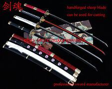 One Piece Katana Full Tang Handmade Sharp Anime Sword Roronoa Zoro Four Pieces