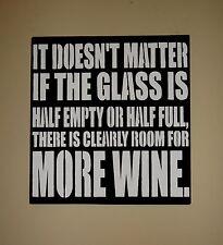 Wine Enthusiast Glass Half Empty Full Sign Decoration Unique Housewarming Gift