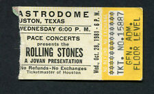 1981 Rolling Stones Molly Hatchet concert ticket stub Houston TX Tattoo You