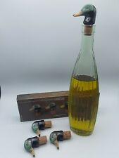 VINTAGE Decorative Handcrafted Duck Ceramic Bottle Cork Stoppers Set Of 4 NEW