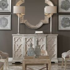 French Country 4 Door Sea Grey Break Front Dining Room Cabinet Storage Farmhouse