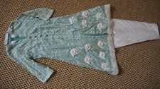 Girls kameez and pant suit, party wear, custom made, teal/ivory, size 9-10 years