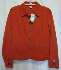 New Christopher & Banks Petite Orange Stretch Denim Jacket Size PS