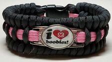 I Love Boobies Breast Cancer Awareness Black & Pink Trilobite Paracord Bracelet