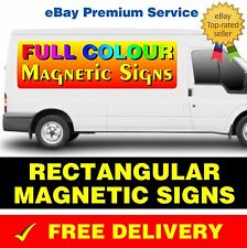 2 x RECTANGULAR MAGNETIC SIGNS REMOVABLE CAR LORRY VAN SIGN PRINTED FULL COLOUR