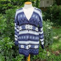 JJ Browne Women's Sz S Vintage Blue Nordic Print  Long Cardigan Sweater Winter