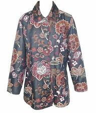 """CHICO'S """"2"""" SIZE 12  L LARGE 100% COTTON LONG COAT JACKET FLORAL CASUAL GREY RED"""