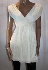 OH MY LOVE London Brand Cream Fine Pleated V Neck Dress Size S BNWT #TL22