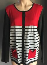 Stand Out Stylish  EQUUS Red & Grey Stripe Thin Knit Cardigan Size L / 14-16