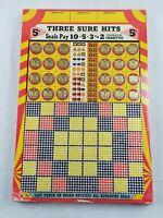 Vintage THREE SURE HITS Cigarette Gambling Punch Board Game UNUSED 1940s #1703