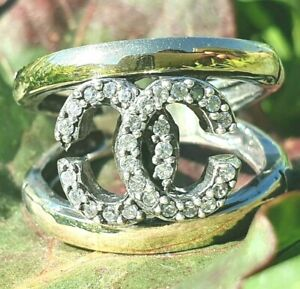 Ring Stlye 6 Sterling Silver & 9k Gold WITH CZ   Hallmarked