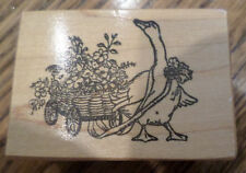 Goose In The Garden Pulling A Flower Wagon Psx  1988 D-987 Wooden Rubber Stamp