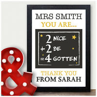 Maths Teacher Thank You Gifts PERSONALISED Gifts for Teacher Teaching Assistant