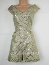 BNWT Definitions Gold Jacquard Off the Shoulder Playsuit Size 14 RRP £45