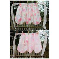 VTG 50's Reversible Taffeta Pink Floral Hostess Half Apron Bridal Baby Shower