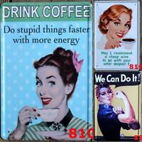Metal Tin Funny Feminist Wall Home Art Retro Decor Coffee Sign Plate Bar vintage