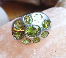 Silberring 57 Mächtig Handarbeit Peridot Grün Quer Oval Ring Silber Schlicht