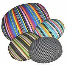 Ak+6 Striped Pattern Round Cotton Canvas Cushion Cover/Pillow Case Custom Size