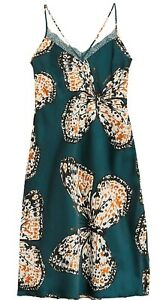 NEW TEAL SATIN BUTTERFLY PRINT LONG NIGHTDRESS M&S COLLECTION SIZES 6 - 20