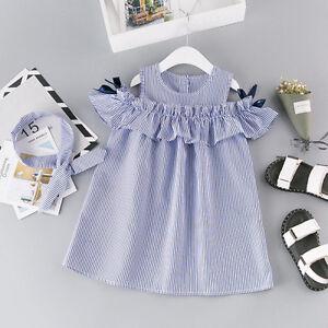 Toddler Kids Baby Girls Princess Party Dresses Holiday Sundress+Headband SetH