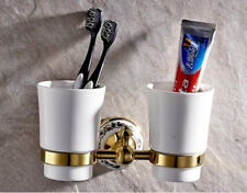 Bathroom Toothbrush Holder Ceramic Double Cups Storage Shelf Wall Mounted Hanger