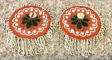 Pair of Antique Beadwork Pocket Watch Holders / Hooks 4.1/2 Inches Across