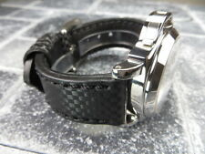 New CARBON Fiber 20mm LEATHER STRAP Band Black with Black Stitch NAVITIMER 20 mm