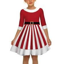 Kids Girls Santa Claus A Line Dress Christmas Party Xmas Princess Skirt Dresses