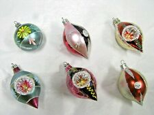 6 Vintage Commodore Christmas Classics Ornaments Hand Decorated Glass Romania