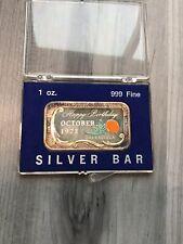 Vintage 1973 Happy Birthday October 1oz Enamel Calendula Silver Ceeco Mint