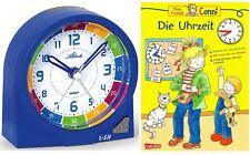 Kinderwecker ohne Ticken + Lernbuch Connie Uhrzeit lernen Blau Jungen -1937-5 BU