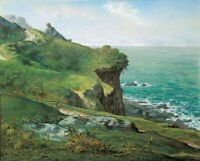 Cliffs Of Greville Jean Francois Millet Fine Art Print on Canvas Painting Giclee