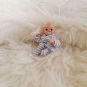 Handmade miniature Baby Boy 1:12 scale dollshouse jointed Ooak polymer clay doll