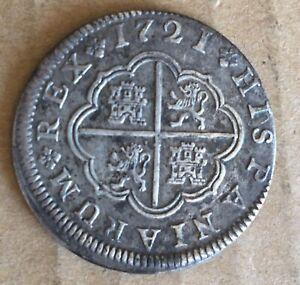 1721 F Segovia Spain Spanish 2 Reales Real Silver Coin PHILIP V JOR33