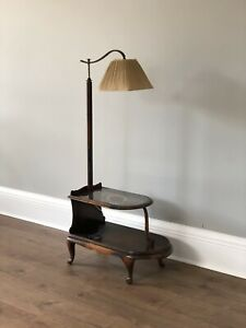 Antique Art Deco Floor Lamp With Shelves And Side Table