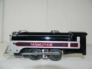 VINTAGE ORIGINAL MARX No. 495 MARLINES BLACK with SILVER TRIM STEAM LOCOMOTIVE