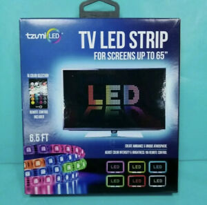 "NEW Tzumi TV LED Strip For Screens Up To 65"" Includes Remote Adhesive Backing"