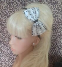 """NEW WHITE BLACK MUSIC MUSICAL NOTE PRINT FABRIC 5"""" SIDE BOW ALICE HAIR HEAD BAND"""