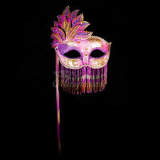 Handheld Stick Mask, Women Mardi Gras Beaded Masquerade Mask [Purple/Gold]