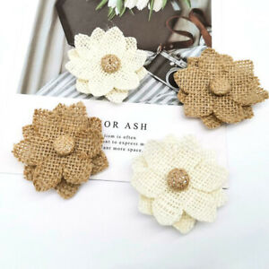 1pcs Handmade Jute Burlap hessian flower DIY Craft Supplies Wedding Decorat_cd