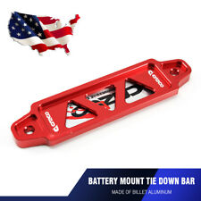 Universal 14cm Billet Aluminum Battery Tie Down Bar Bracket Stand Auto Car Red