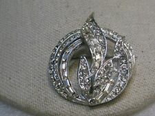 Vintage Art Deco Rhinestone Brooch, Leaves, Baguettes, nearly 2""