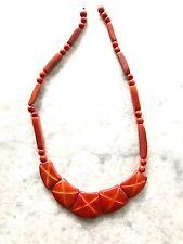 Tagua, Acai Seed Necklace. Handcrafted in Ecuador. Acai Seed Orange Necklace