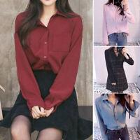 Women Button Chiffon Blouse Tops Long Sleeve Pocket Fashion Office Lady Shirts