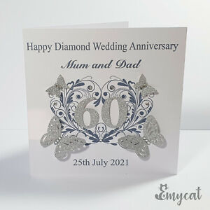 Personalised Handmade Diamond 60th Wedding Anniversary Card **Free UK P&P**