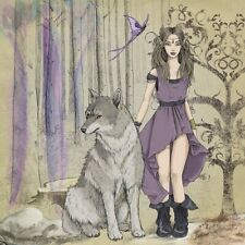 "3"" Elf Girl Sticker Forest Magical Fantasy Book Fairytales Wolf Purple Fairy"