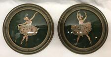 Pair Vintage Round Ribbon Lady Paper Doll Art Ballerinas Original Frames